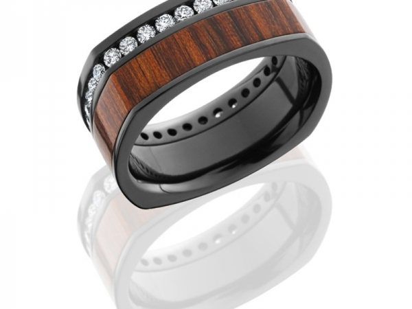 Zirconium 9.5mm Flat EuroSquare Band with 4.5mm off-center Mexican Cocobollo wood inlay and Eternity set Diamonds - TCW 1.08