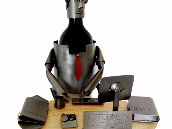 Attorney At Law (Male) at Desk Wine Bottle Holder