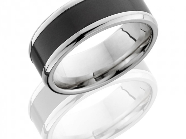 18K White gold band with Solid Black Diamond inlay