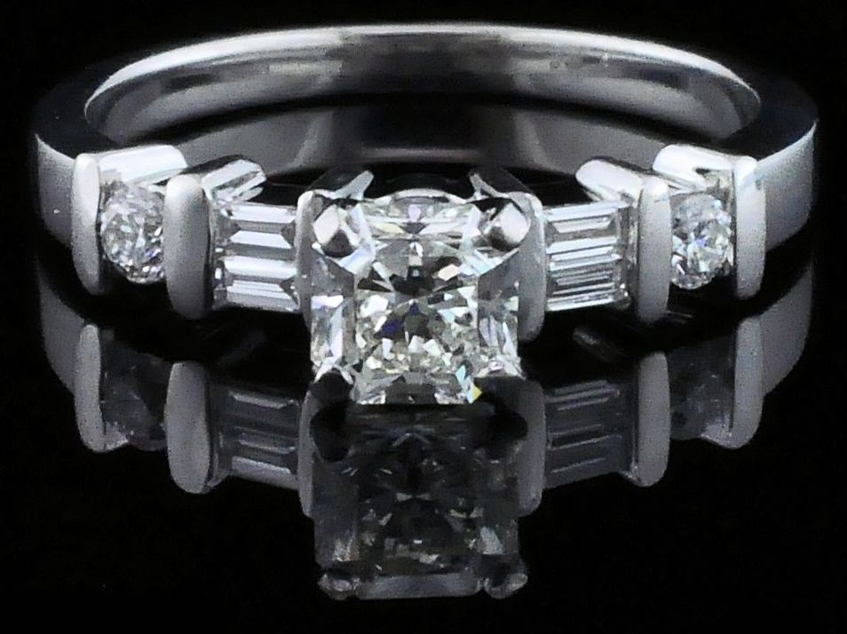Diamond Engagement Rings - Platinum and Diamond Wedding Set - image #4