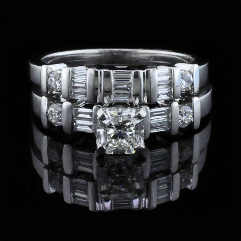 Diamond Engagement Rings - Platinum and Diamond Wedding Set
