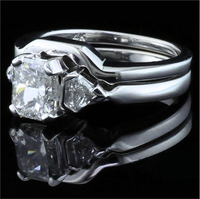 Diamond Engagement Rings - Radiant Cut Diamond Wedding Set - image #2