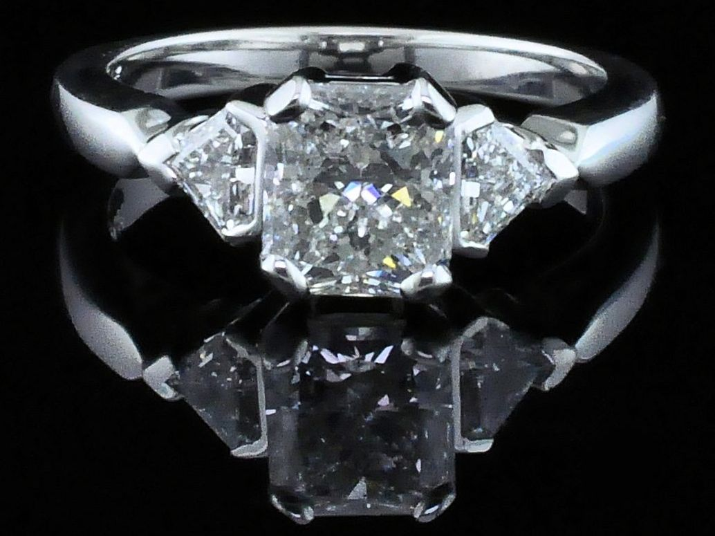 Diamond Engagement Rings - Radiant Cut Diamond Wedding Set - image #4