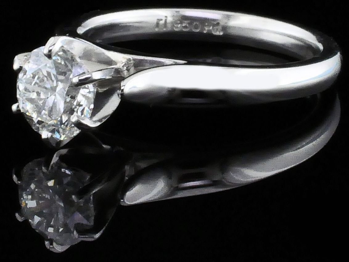 Diamond Engagement Rings - Palladium Solitaire Engagement Ring - image #2