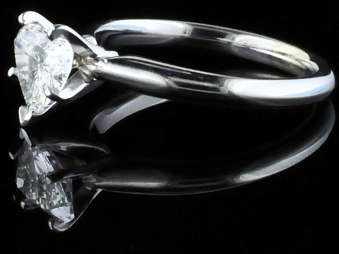 Diamond Engagement Rings - Heart Shape Diamond Solitaire Engagement Ring - image #2
