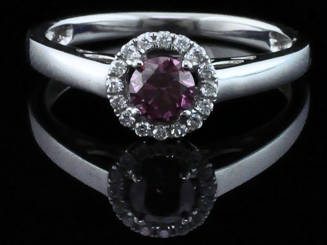 Diamond Engagement Rings - Pink Diamond Wedding Set - image #4