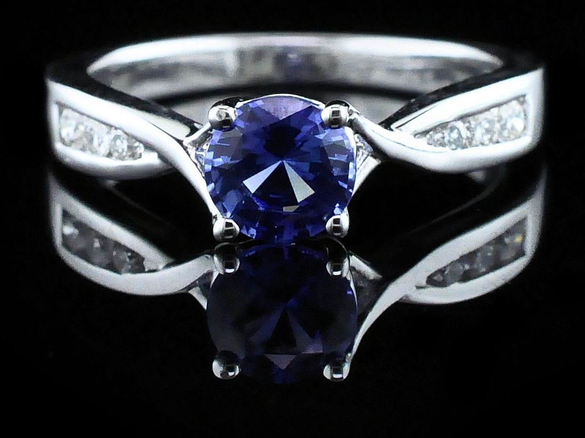 Diamond Engagement Rings - Sapphire and Diamond Wedding Set - image #4