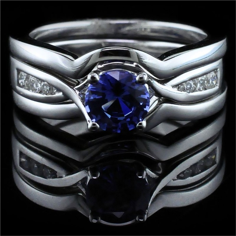 Diamond Engagement Rings - Sapphire and Diamond Wedding Set