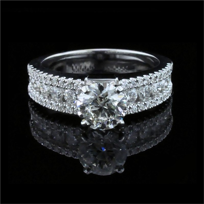 Diamond Engagement Rings - 18K White Gold and Diamond Engagement Ring