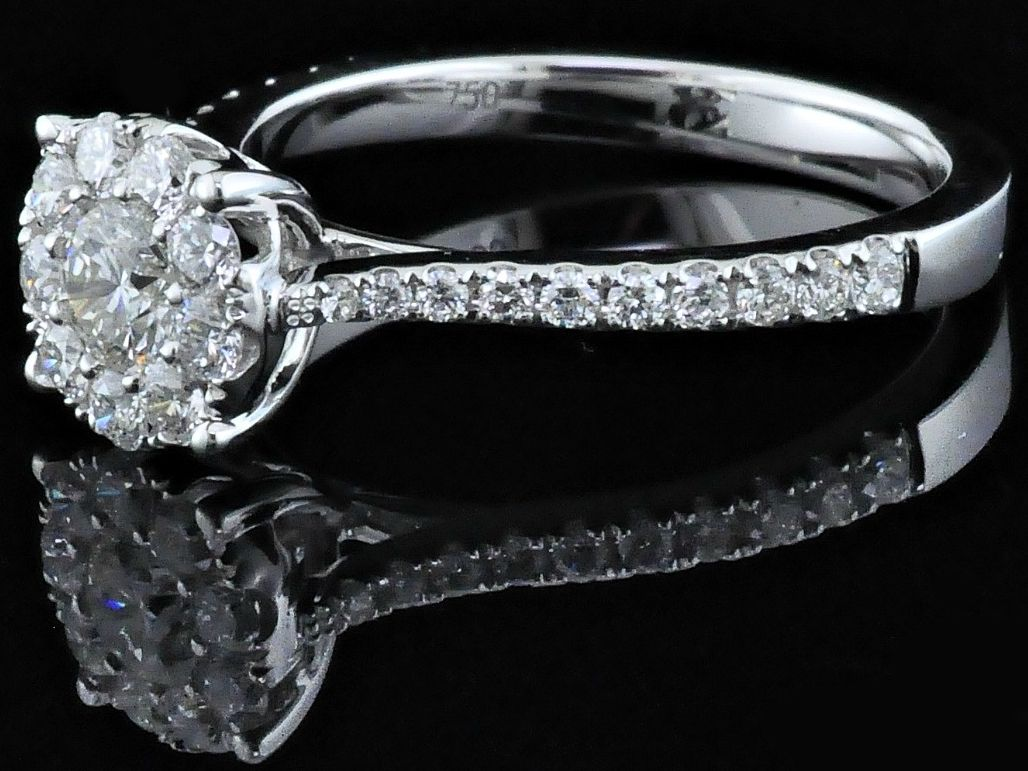 Diamond Engagement Rings - Diamond Cluster Engagement Ring - image #2