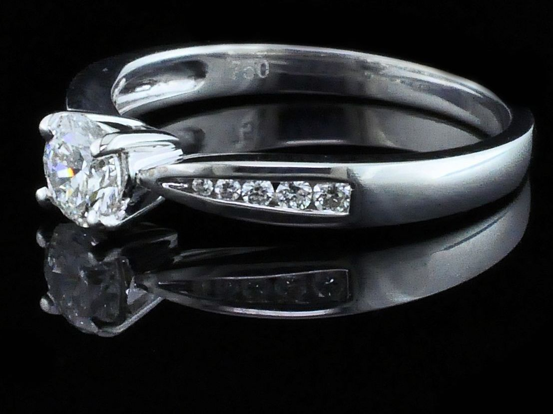 Diamond Engagement Rings - Hearts & Arrows Cut Diamond Engagement Ring - image 2
