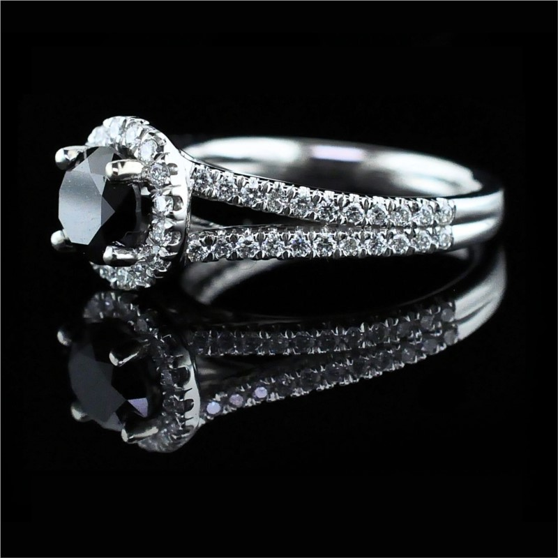 Diamond Engagement Rings - 14K White Gold And Black Diamond Engagement Ring - image #2