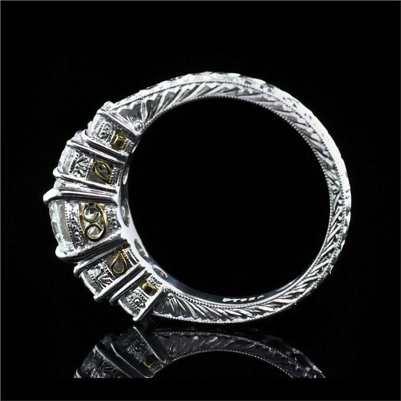 Diamond Engagement Rings - Platinum and 18K Hand Carved 5-Stone Ring - image #3
