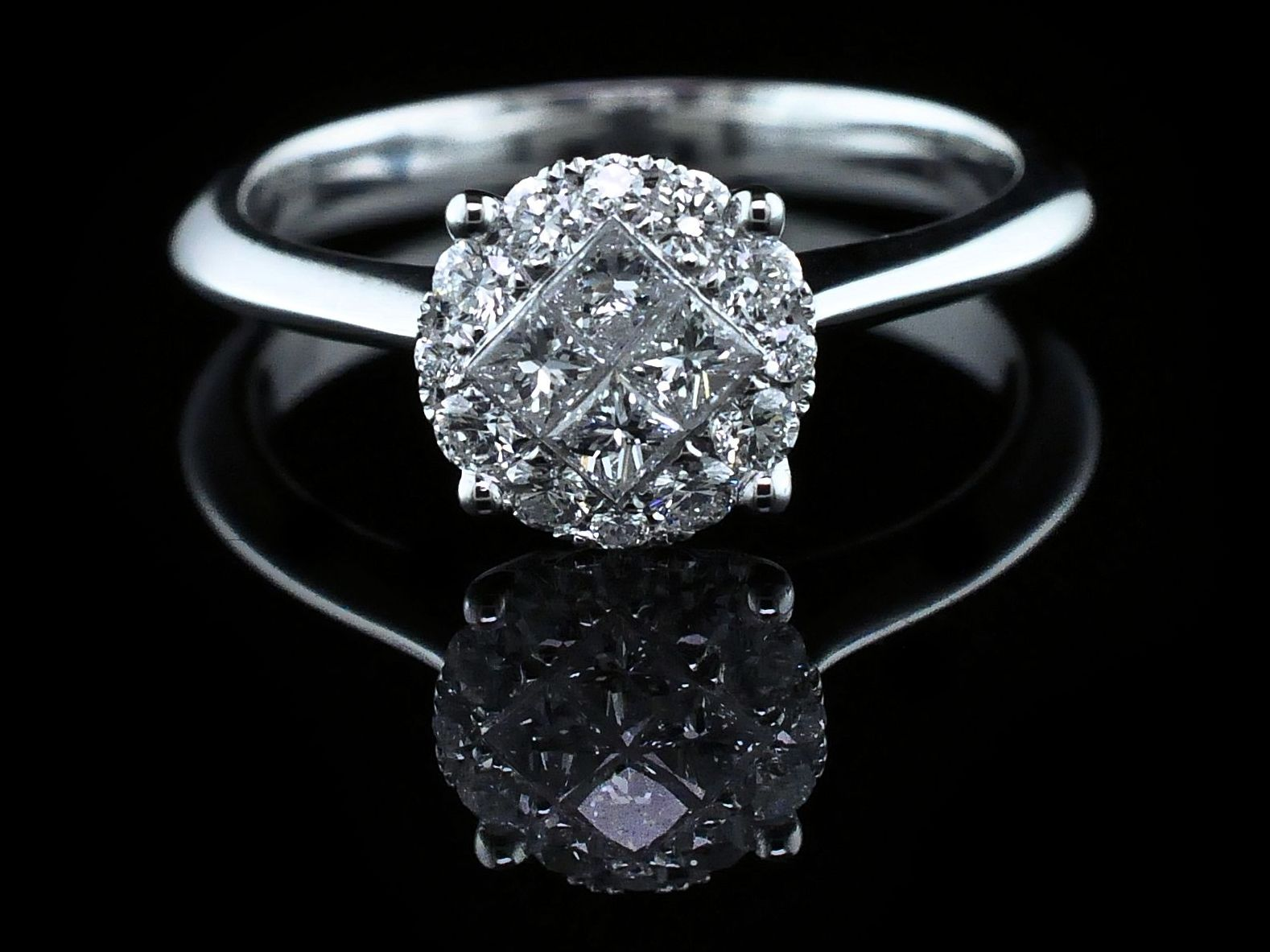 Diamond Engagement Rings - 18K Diamond Cluster Engagement Ring