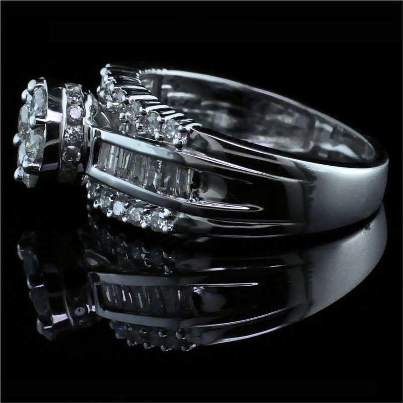Diamond Engagement Rings - Cluster Style Diamond Engagement Ring - image #2