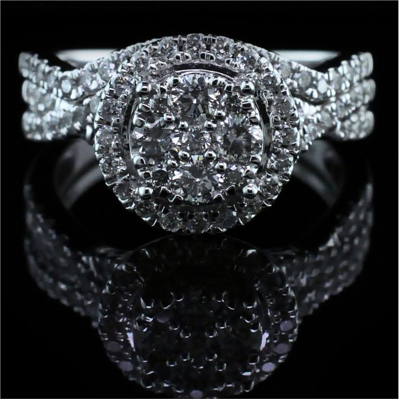 Diamond Engagement Rings - Cluster Style Diamond Engagement Ring