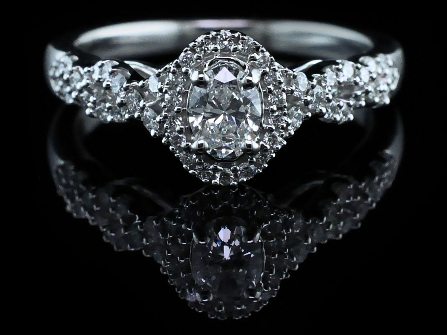 Diamond Engagement Rings - Oval Halo Diamond Engagement Ring