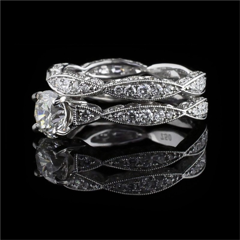 Diamond Engagement Rings - 18K White Gold and Diamond Wedding set - image #2