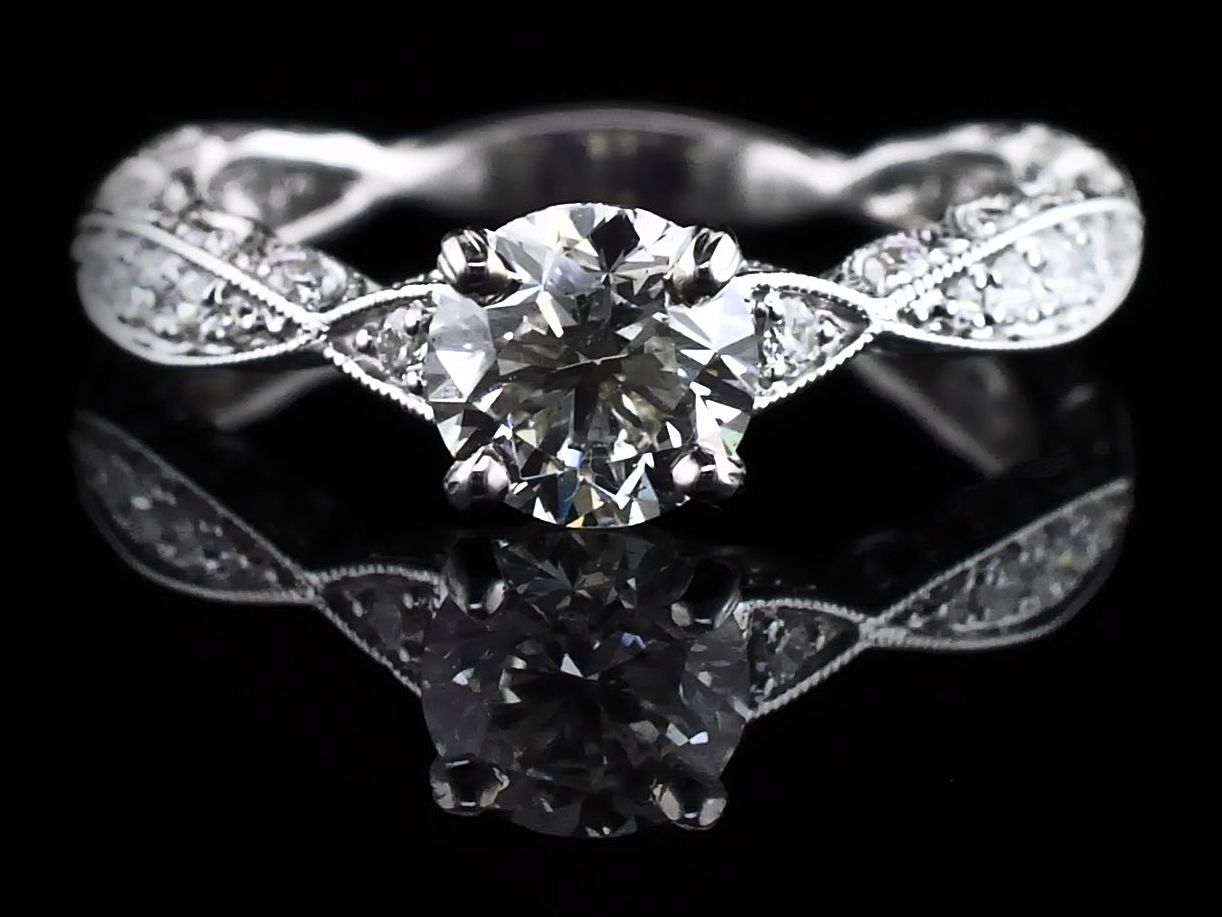 Diamond Engagement Rings - 18K White Gold and Diamond Wedding set - image #4