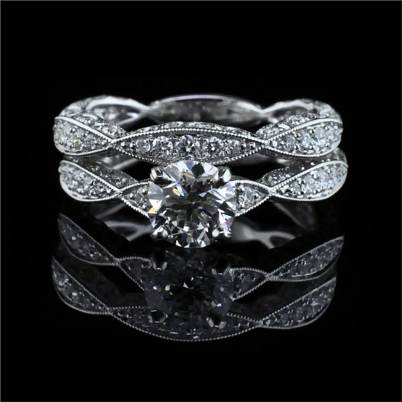 Diamond Engagement Rings - 18K White Gold and Diamond Wedding set