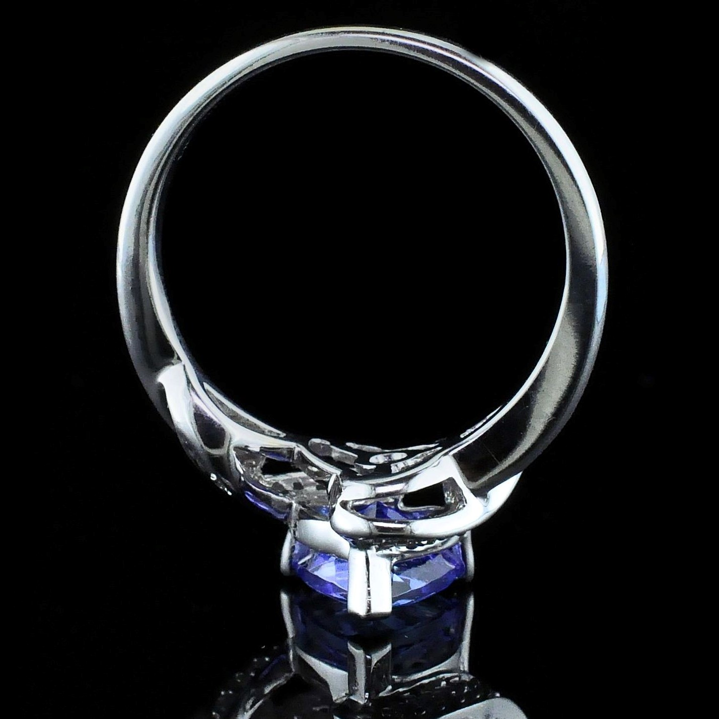 Women's Colored Stone Rings - Ladies Tanzanite and Diamond Fashion Ring - image #3