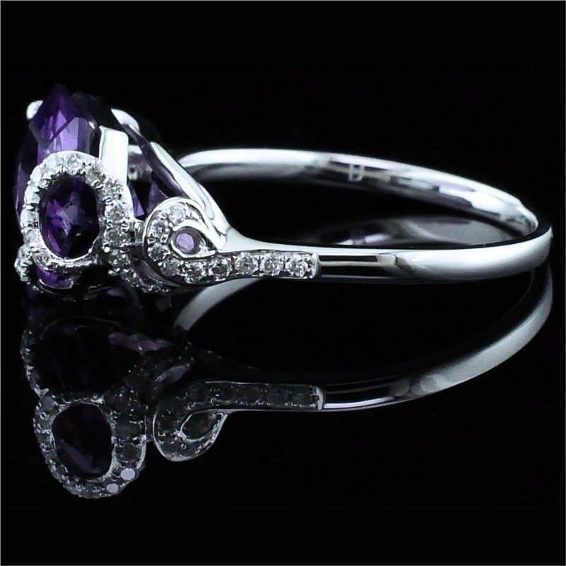 Women's Colored Stone Rings - Ladies Amethyst and Diamond Fashion Ring - image #2