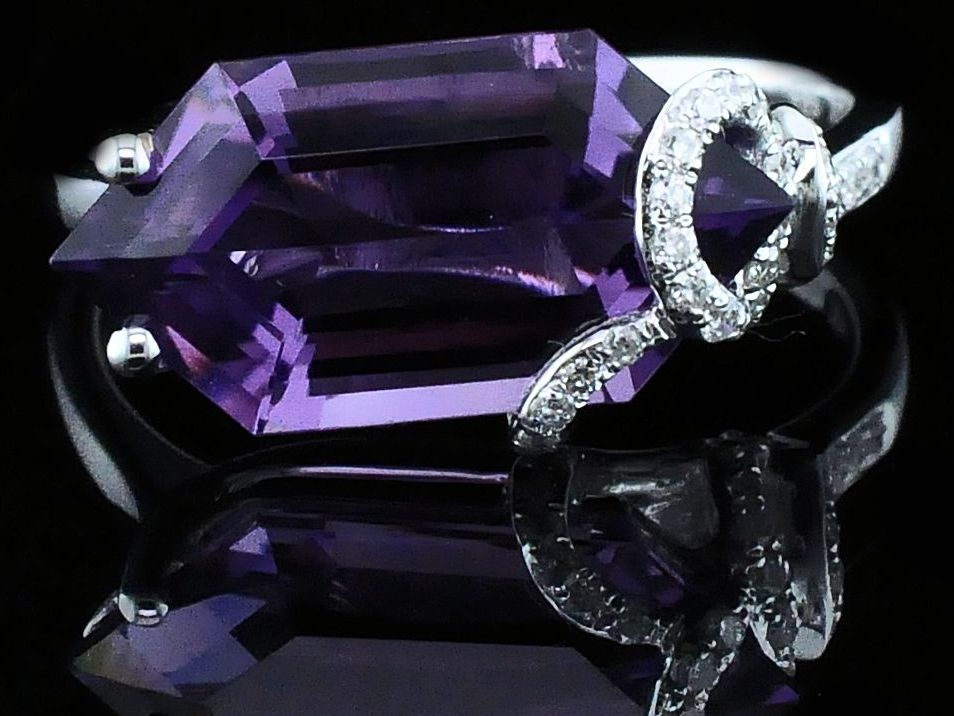 Women's Colored Stone Rings - Ladies Amethyst and Diamond Fashion Ring