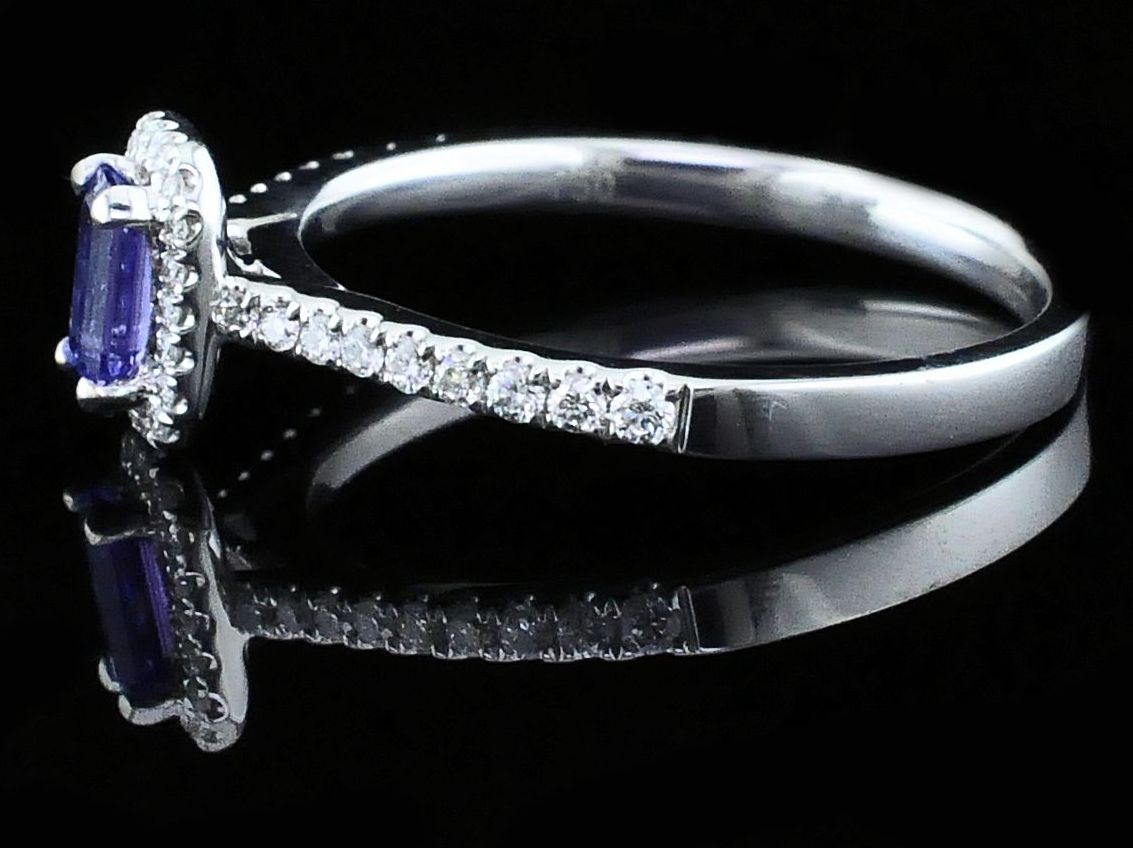 Women's Colored Stone Rings - Ladies Tanzanite and Diamond Fashion Ring - image #2
