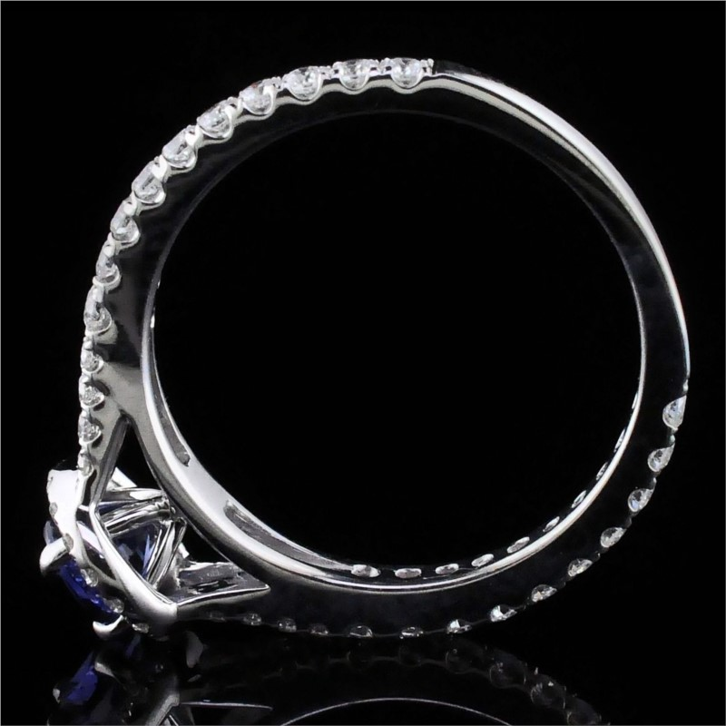 Women's Colored Stone Rings - Blue Sapphire And Diamond Ring - image #3