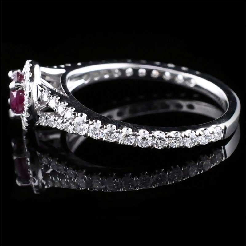 Women's Colored Stone Rings - Ruby And Diamond Ring - image #2