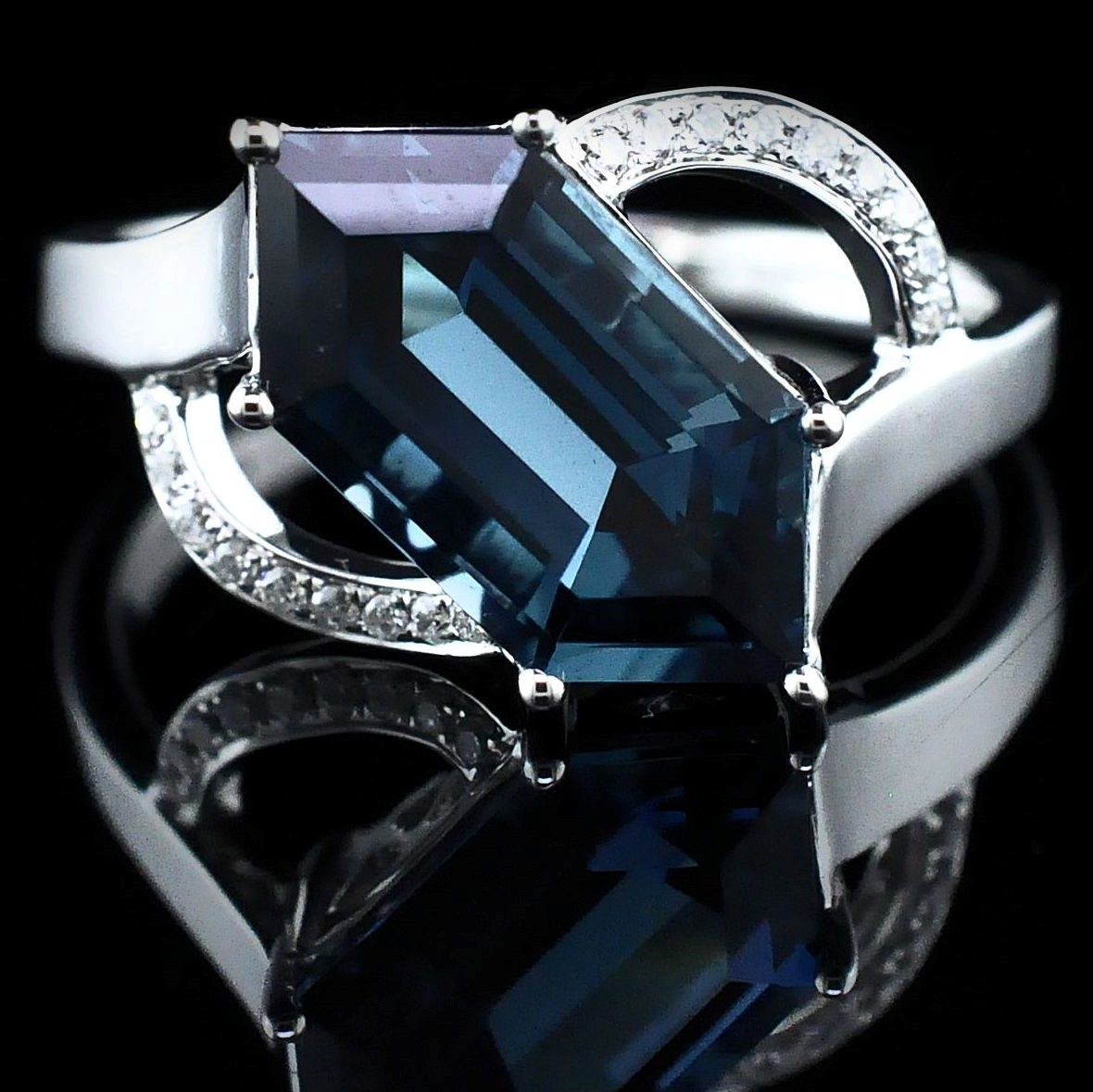 Women's Colored Stone Rings - Ladies London Blue Topaz and Diamond Ring