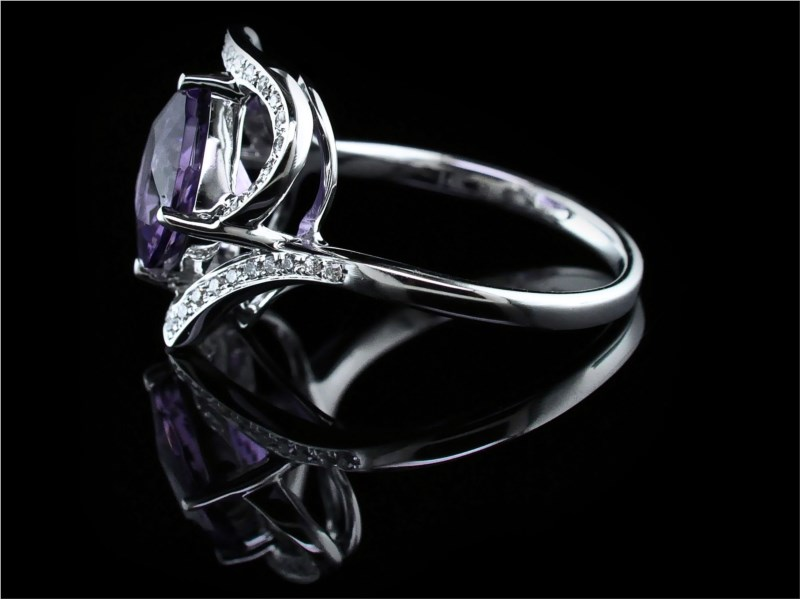 Women's Colored Stone Rings - Ladies Amethyst and Diamond Ring - image #2