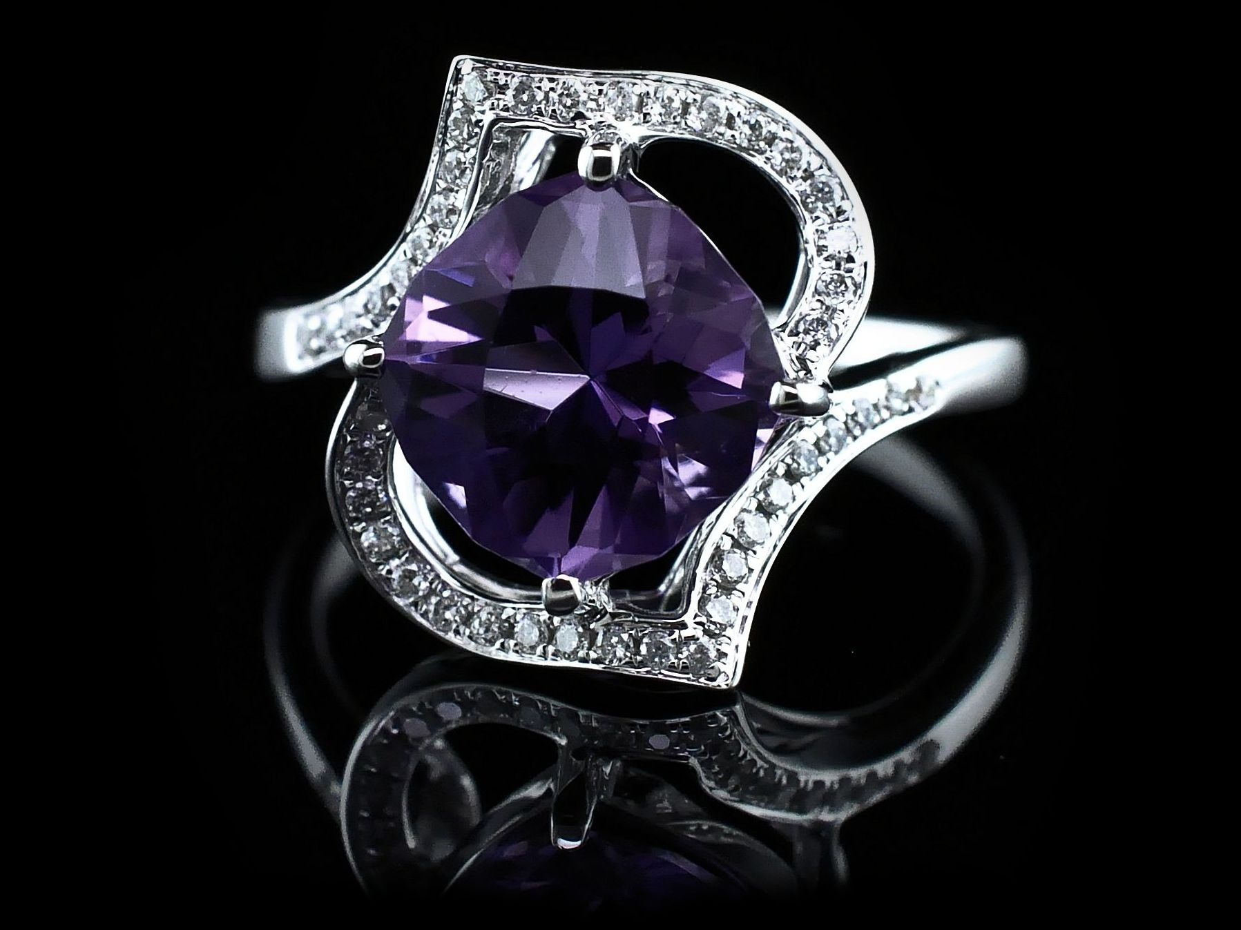 Women's Colored Stone Rings - Ladies Amethyst and Diamond Ring