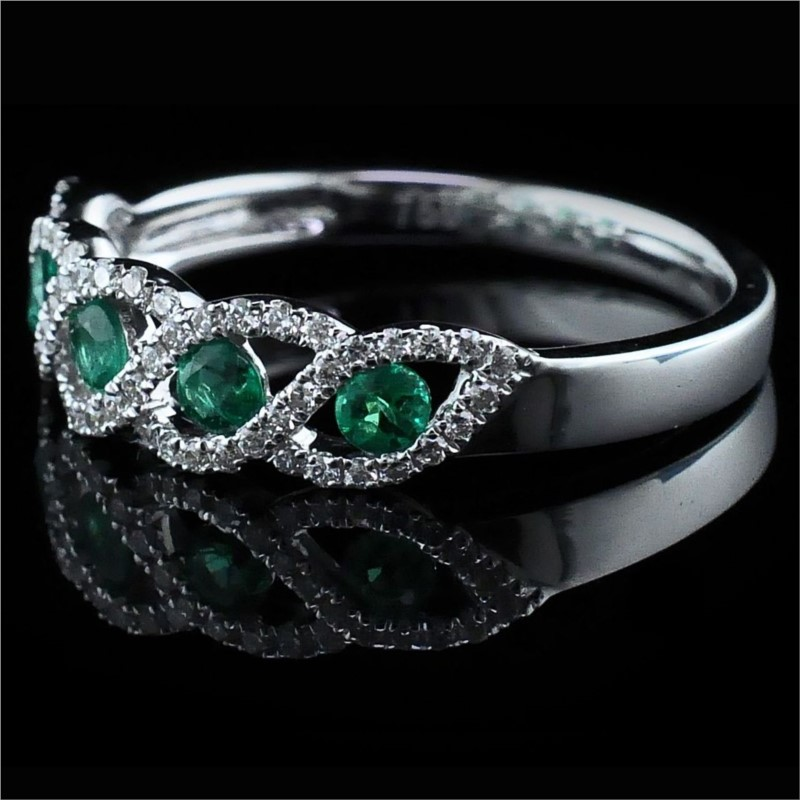 Women's Colored Stone Rings - 18K Emerald and Diamond Ring - image #2