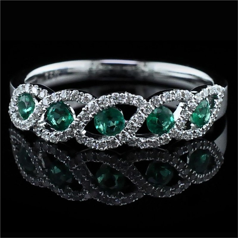 Women's Colored Stone Rings - 18K Emerald and Diamond Ring