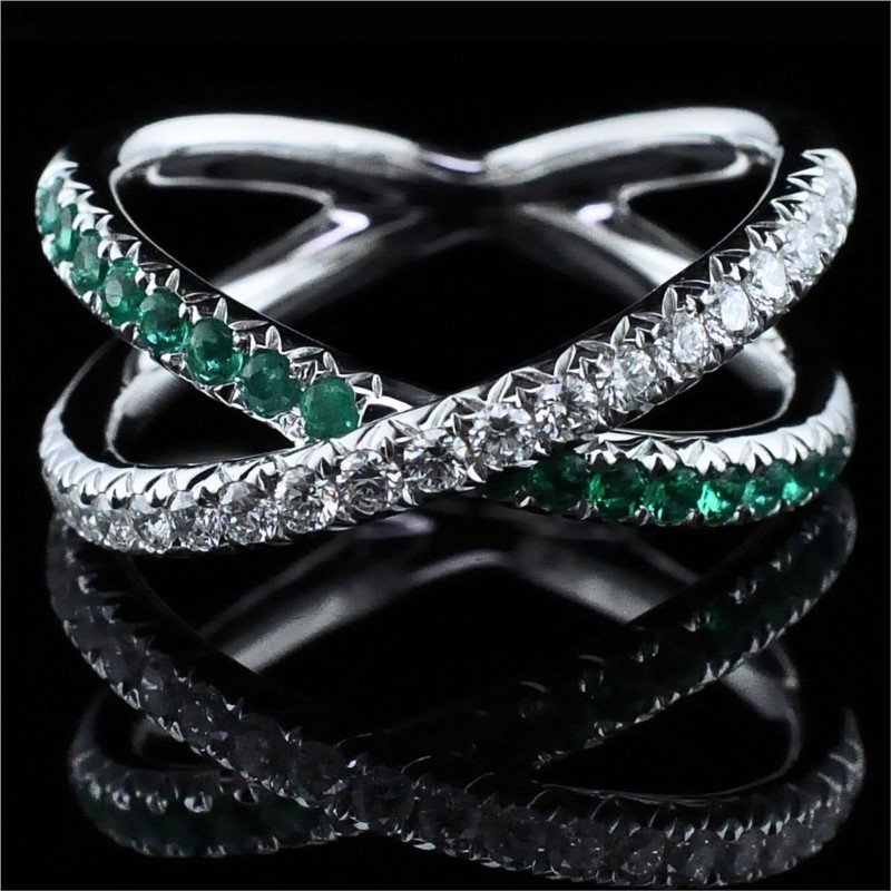 Women's Colored Stone Rings - Ladies 18K Emerald and Diamond Ring