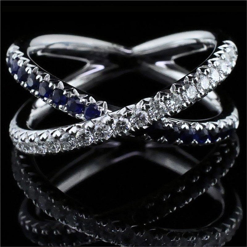 Women's Colored Stone Rings - Ladies 18K Sapphire and Diamond Ring