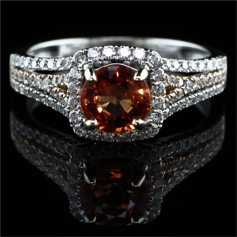 Women's Colored Stone Rings - 18K Fire Ruby and Diamond Ring