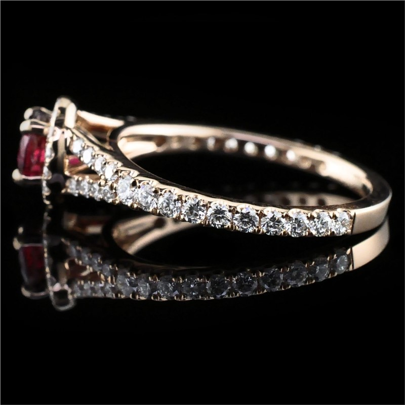 Women's Colored Stone Rings - 18K Fire Ruby and Diamond Ring - image #2