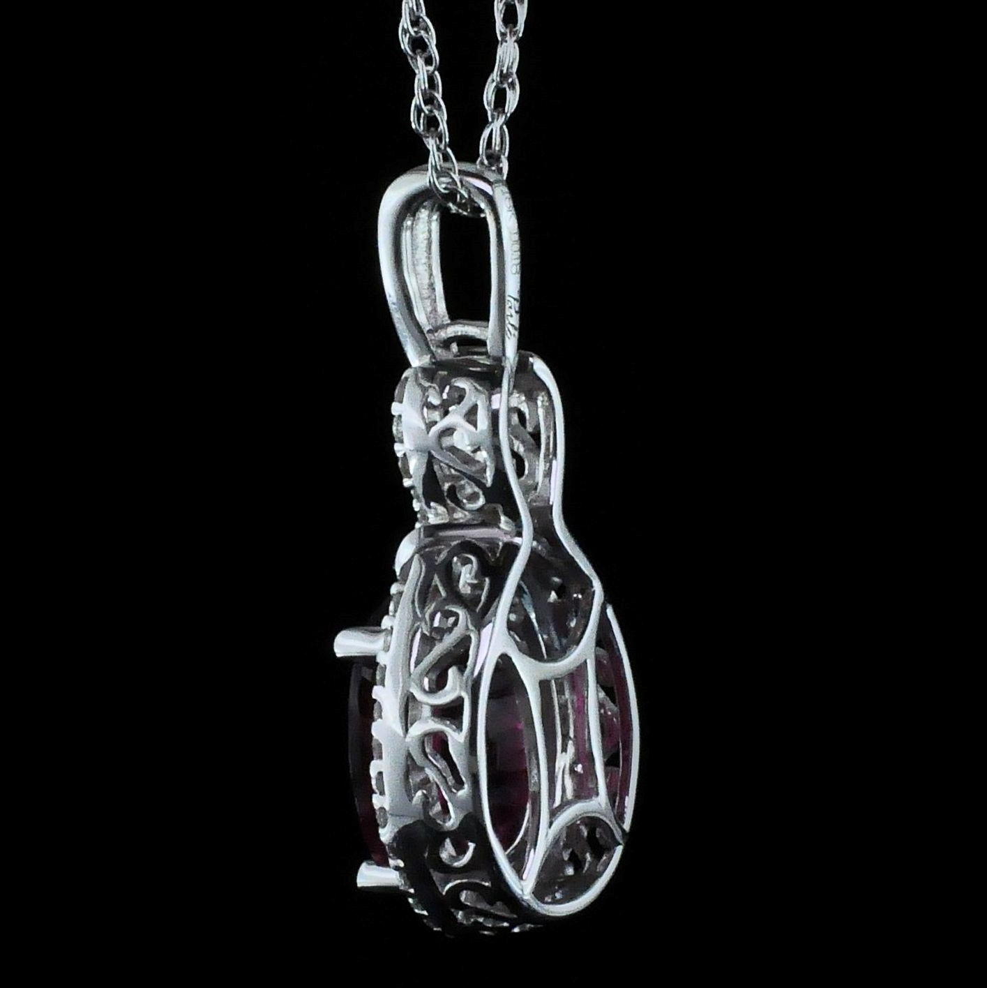 Colored Stone Pendants - 18K Rubellite and Diamond Pendant - image #2