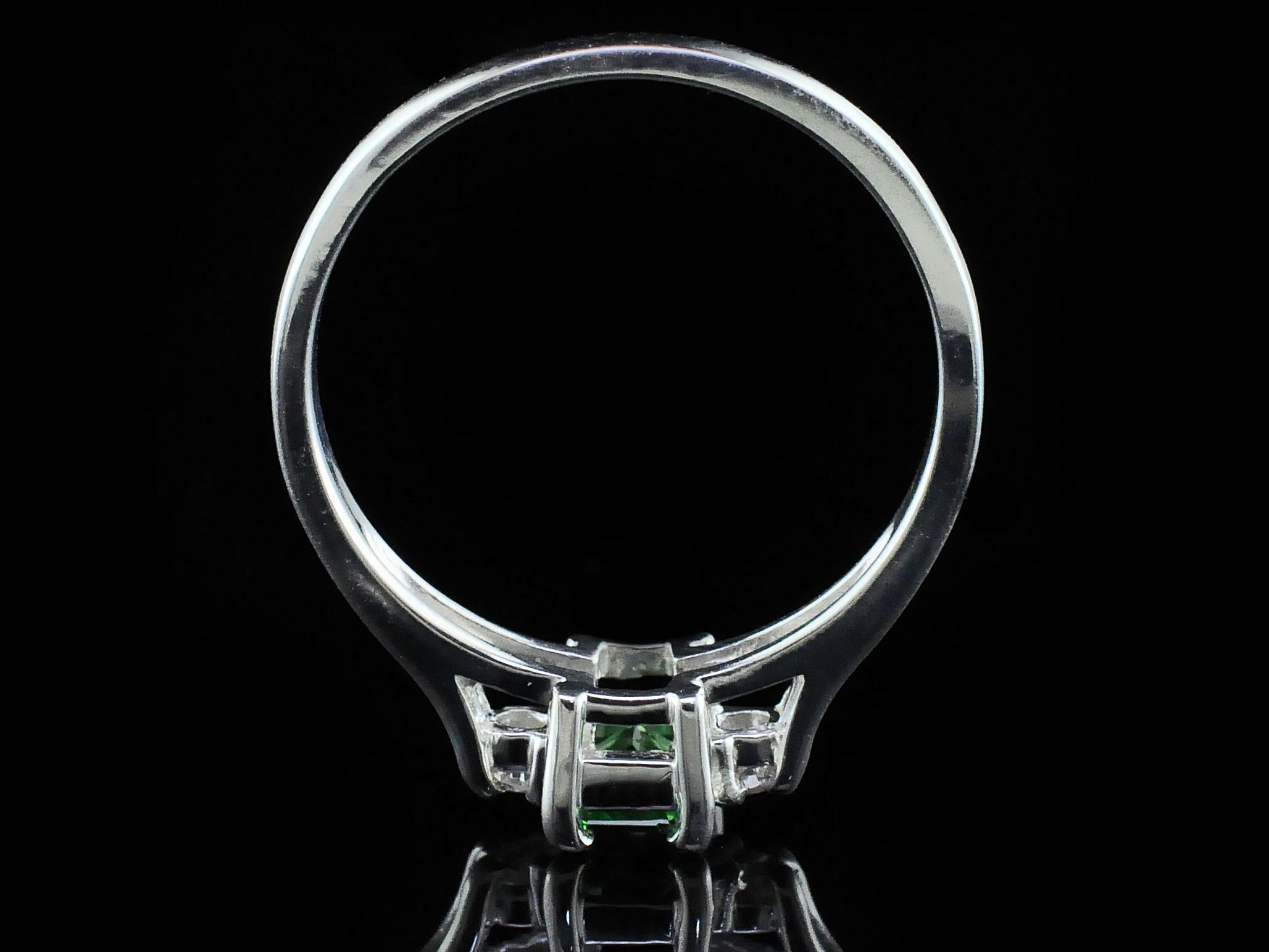 Silver Rings With Stones - Tsavorite Garnet And Diamond Three Stone Ring - image #3
