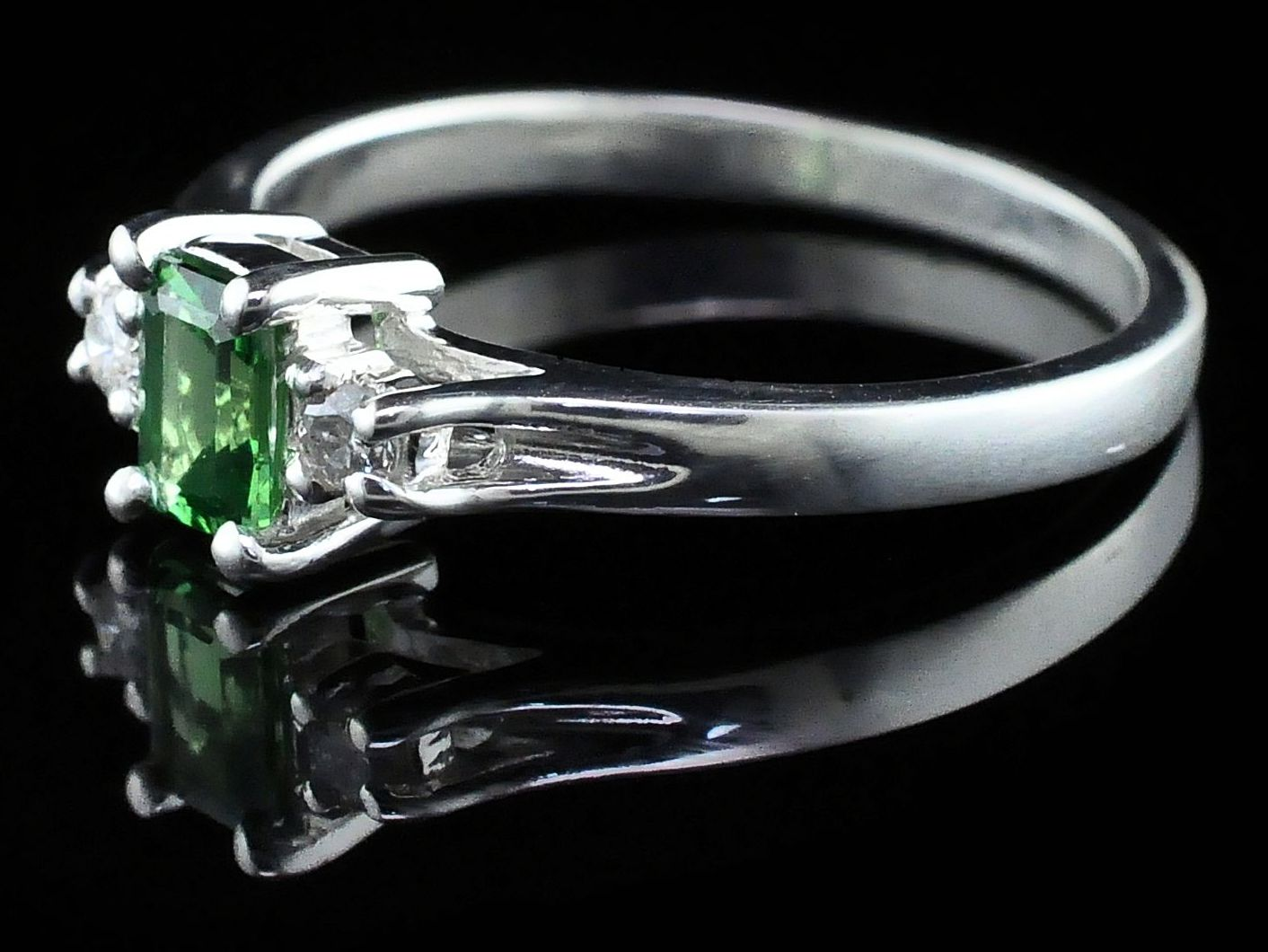 Silver Rings With Stones - Tsavorite Garnet And Diamond Three Stone Ring - image #2