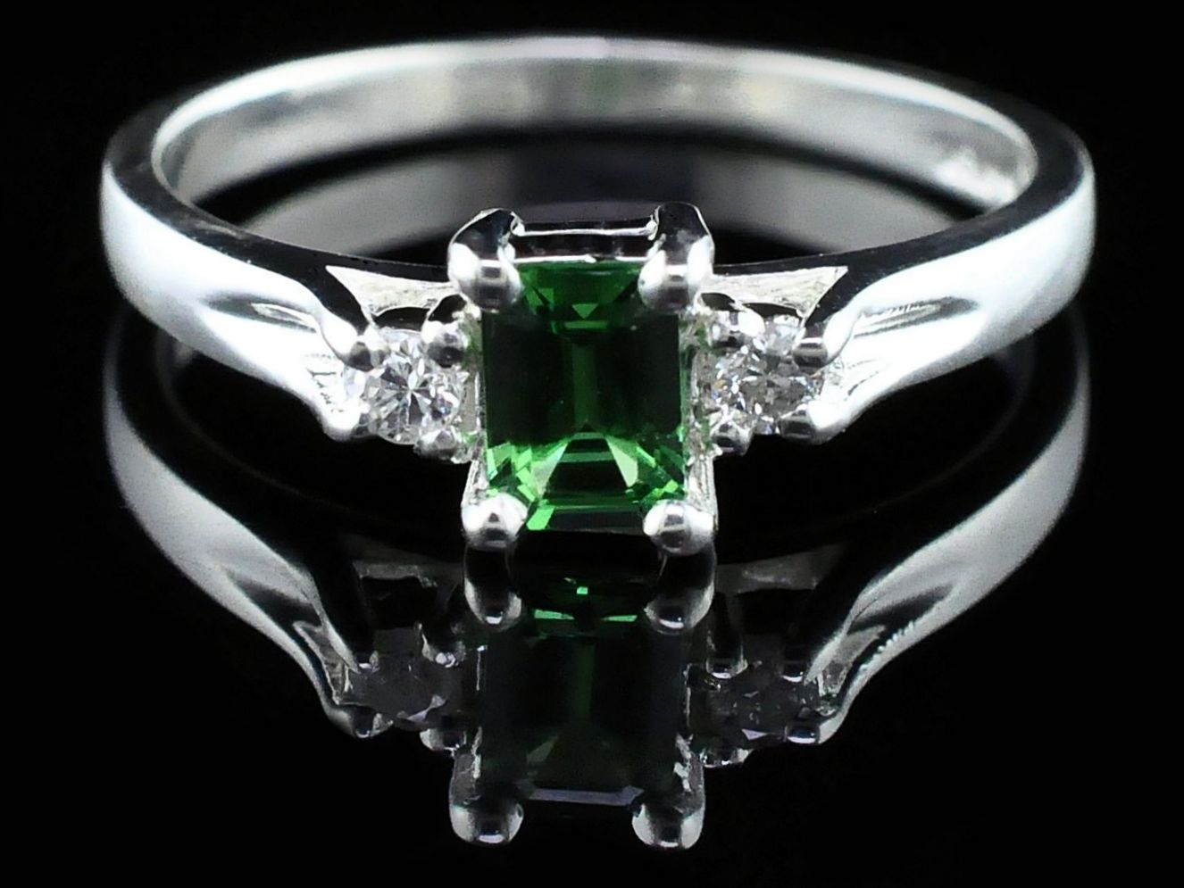 Silver Rings With Stones - Tsavorite Garnet And Diamond Three Stone Ring