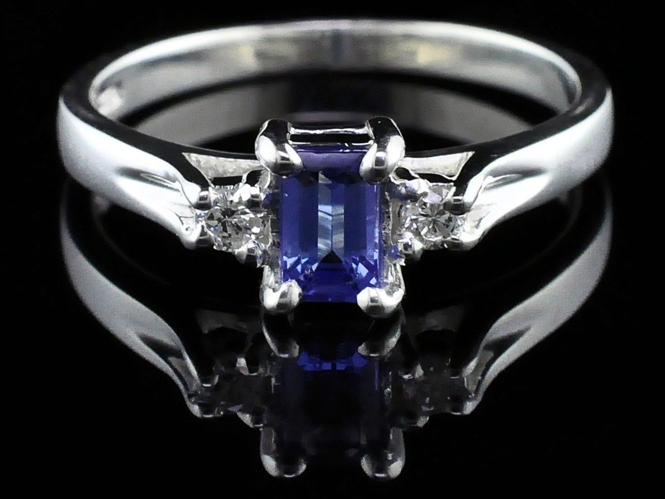 Silver Rings With Stones - Tanzanite And Diamond Three Stone Ring