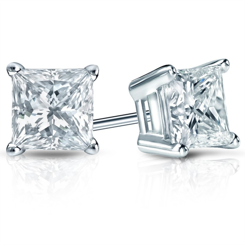 Diamond Stud Earrings | 14K White Gold & Princess Diamond Earrings | Style No. 001-164-00229