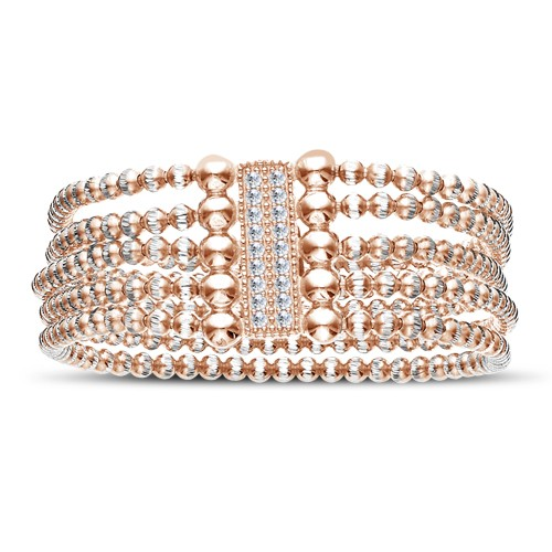 Four Keeps | Sterling Silver & 14K Rose Gold Five Row Diamond Bracelet | Style No. 001-481-00001