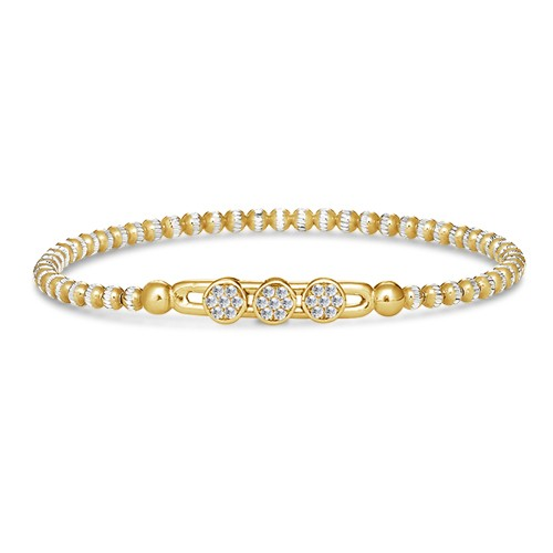 Four Keeps | Sterling Silver & 14K Yellow Gold Pavéé Diamond Circles Bracelet | Style No. 001-481-00004