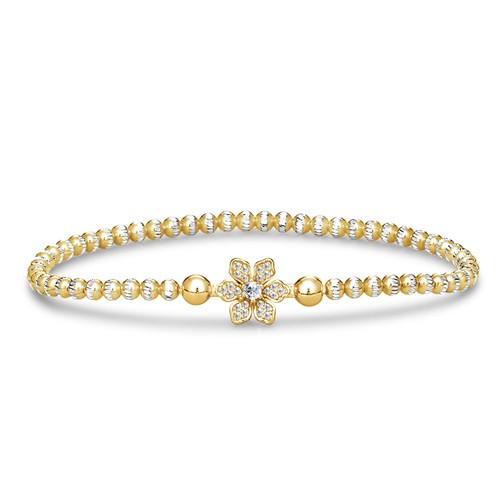 Four Keeps | 14K Yellow Gold & Sterling Silver Diamond Petal Bracelet | Style No. 001-481-00012