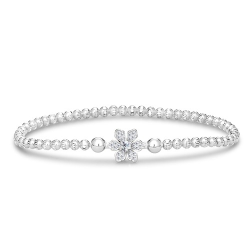 Four Keeps | 14K White Gold & Sterling Silver Diamond Petal Bracelet | Style No. 001-481-00014