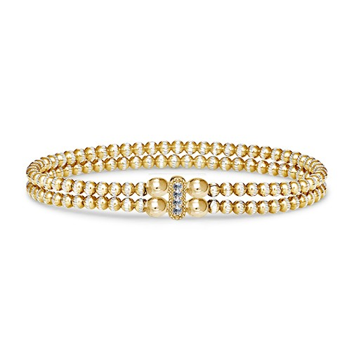Four Keeps | 14K Yellow Gold & Sterling Silver Diamond Vertical Bar Bracelet | Style No. 001-481-00017